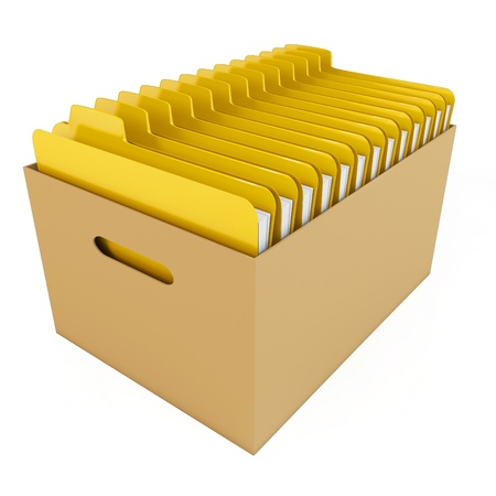3d box with yellow folders isolated on white