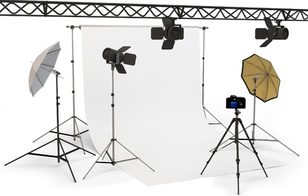 3d empty photo studio interior with equipment on white background