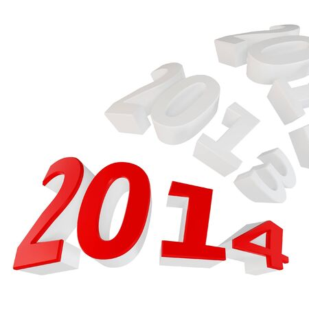 3d Happy New Year 2014 on white background
