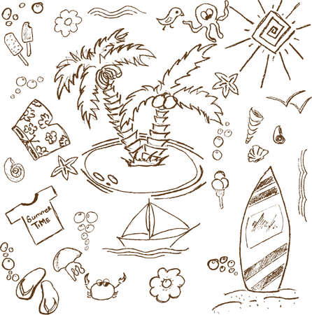 Full page of fun hand draw doodles on a summer theme