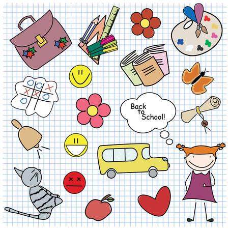 Illustration pour Set of different colored school objects with girl. For boy set please visit my portfolio. - image libre de droit