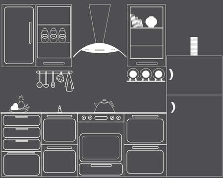 Full set vector of kitchen in black and white colors