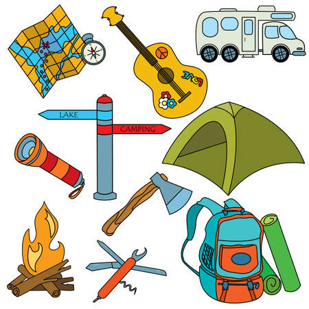 Set of colored cut doodles on the camping theme isolated on white background