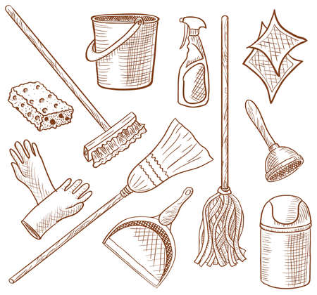 House cleaning service hand-drawn icon set