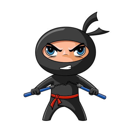 Cute furious ninja with nunchaku ready to attack