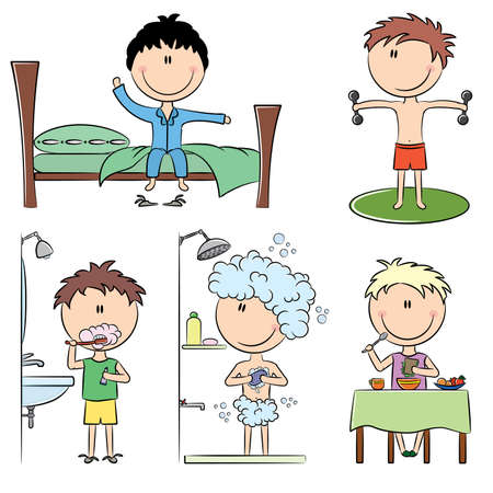 Daily Morning Boys Life including wake up, morning exercises, teeth cleaning, shower and breakfast