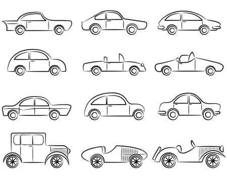 Vintage cars doodle color icons set