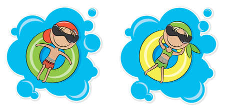 Illustration of a young cheerful girl and boy relaxing on inner tube