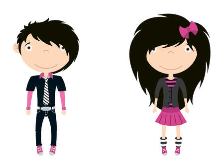 Cute trendy emo boy and girl