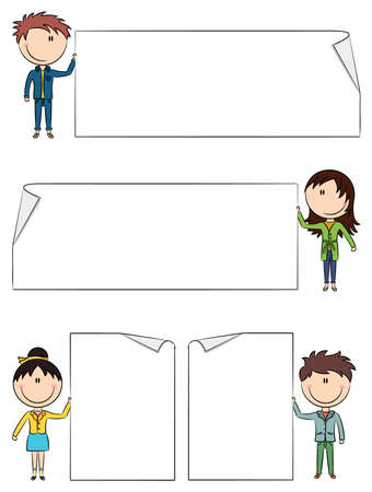 Cute boys and girls holding empty blank banners  Color version