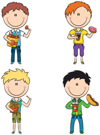 Happy boys with different junk foods