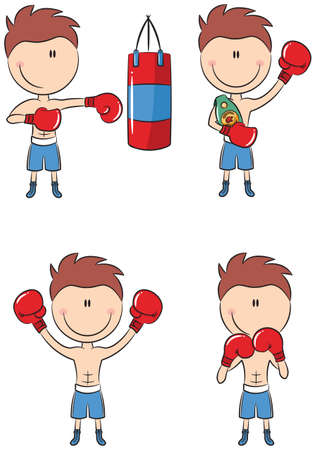 Cute caucasian boxers in different poses