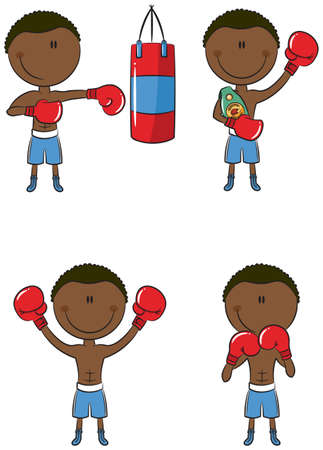 Cute African-American boxers in different poses