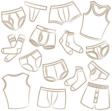 Male Underwear Doodle Icon Set