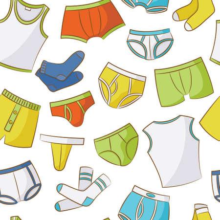 Male Underwear Doodle Seamless Pattern