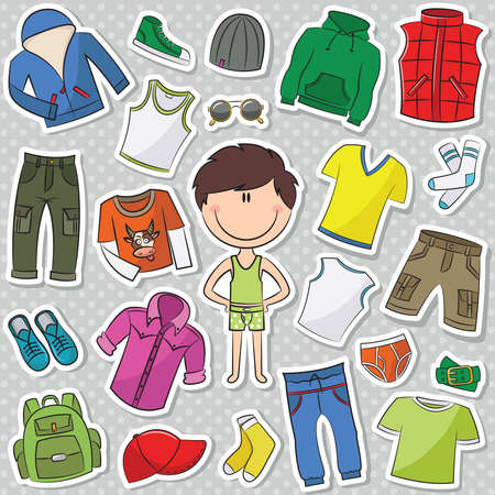 Ilustración de A collection of casual clothes for boys - Imagen libre de derechos