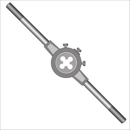 Die with holder - hand tool for threading on metal workpiece