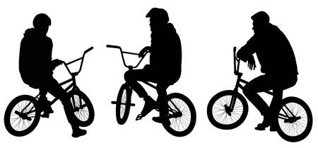 Illustration pour Set of three silhouettes of teenagers sitting on bicycles - vector illustration - image libre de droit