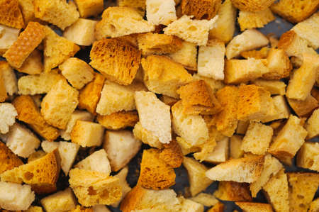 many small pieces of dried bread