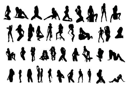 Vector silhouettes of sexy girls
