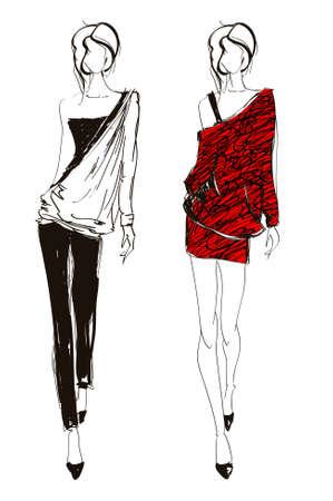 Ilustración de Hand-drawn fashion model. illustration. - Imagen libre de derechos