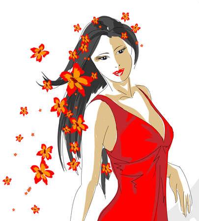 Hand-drawn fashion model. spring girl