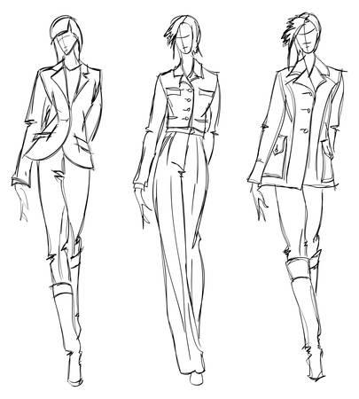 Vektor für SKETCH. fashion girl. Hand-drawn fashion model. Vector illustration. - Lizenzfreies Bild