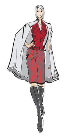 Ilustración de SKETCH. fashion girl. Hand-drawn fashion model - Imagen libre de derechos