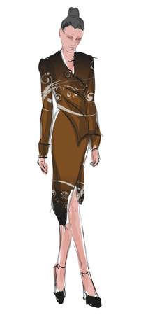 SKETCH  fashion girl  Hand-drawn fashion model