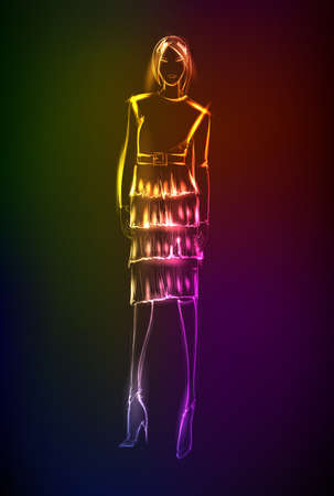 Ilustración de Hand-drawn fashion model from a neon. A light girl's - Imagen libre de derechos