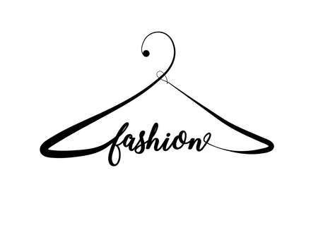 Illustration pour Creative fashion logo design. Vector sign with lettering and hanger symbol. Logotype calligraphy - image libre de droit