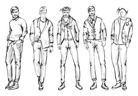 Ilustración de Fashion man. Set of fashionable men's sketches on a white background. Spring men. - Imagen libre de derechos