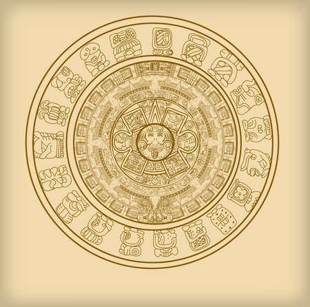 Illustration pour Maya calendar of Mayan or Aztec vector hieroglyph signs and symbols - image libre de droit