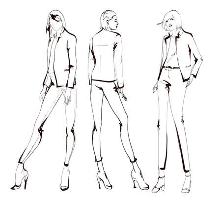 Illustration for Stylish fashion models. Pretty young girls. Fashion womans Sketch - Royalty Free Image