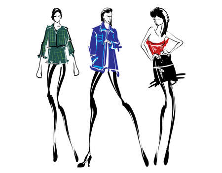 Illustration for Fashion models sketch hand drawn , stylized silhouettes isolated.Vector fashion illustration set. - Royalty Free Image