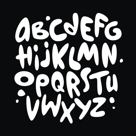 Illustration pour Cartoon comic graffiti font alphabet. Vector - image libre de droit
