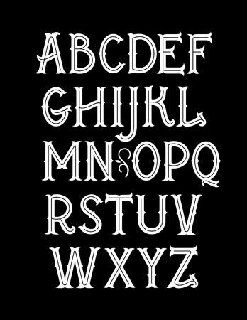 Illustration pour Original vintage art nouveau font. Vector alphabet - image libre de droit