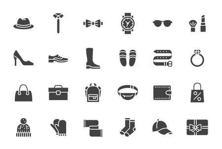 Illustration for Accessory, Fashion Silhouette Icons. Vector Illustration Included Icon as Footwear, High Heels Shoes, Bow Tie, Backpack, Knitted Clothes and other Apparel Flat Pictogram for Cloth Store - Royalty Free Image