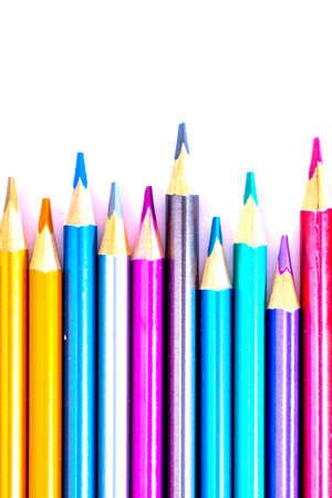 Photo pour Set beautiful white , colored pencils of colored pencils on white background. Soon to school. Back to School - image libre de droit