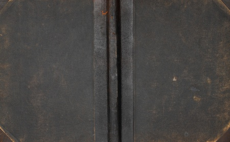 Closeup of antique leather book cover