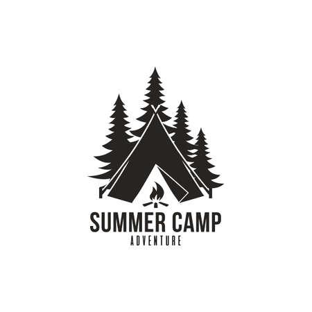 Ilustración de Forest Adventure, Summer Camp Black And White Badge Vector Logo Template - Imagen libre de derechos