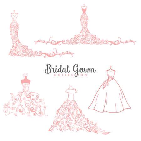 Illustration pour Dress Boutique Bridal Collection Logo Set, Icon Template Illustration Vector Design - image libre de droit