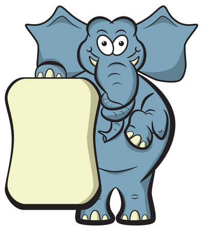 Cartoon elephant with a knotted trunk to jog memory with blank placard for copyspace