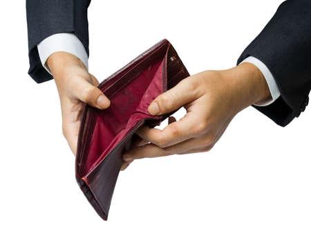 Photo pour Having no money concept (hand show an old wallet) - image libre de droit