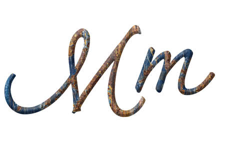 Capital and small letter M in rusty iron