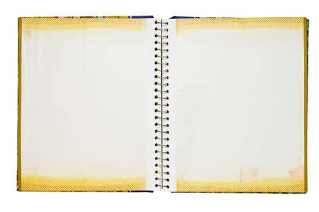 Opened photo album isolated on white background