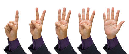 Foto de Set of business hand gesture finger numbers isolated on white background - Imagen libre de derechos