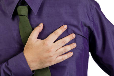 Closeup male hand that suffer from heart attack