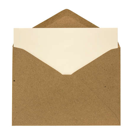 Opened brown envelope with card inside isolated on white background