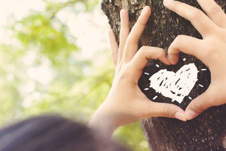 Hands make a heart sign on tree trunk with drawing heart, retro color style